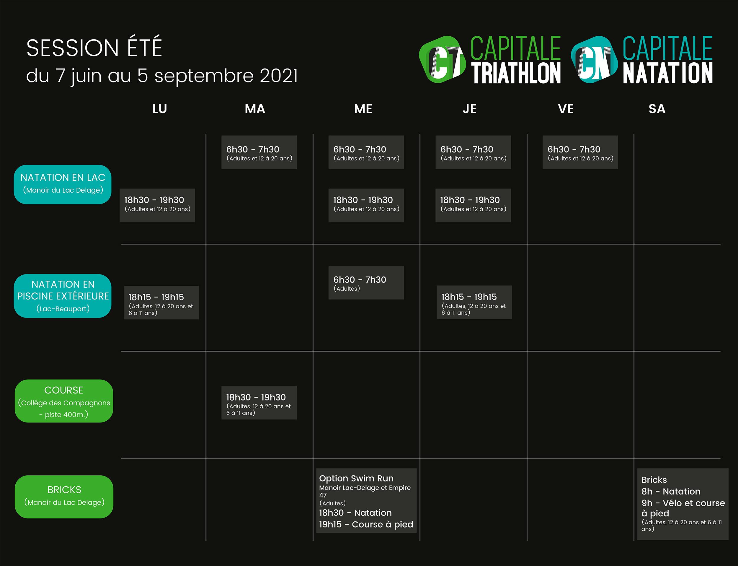 calendrier entraînements Capitale-Triathlon automne-2020
